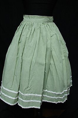 1950s 60s Vintage GREEEN COTTON GINGHAM LACE TRIM SWING SKIRT