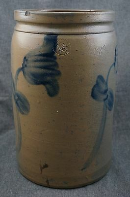 PETER HERMANN Blue Decorated TULIPS - 1 1/2 Gallon STONEWARE CROCK - 11 1/2""