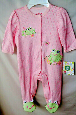 LITTLE ME 100% Soft Cotton Pink FROG FRIENDS Footie  NWT