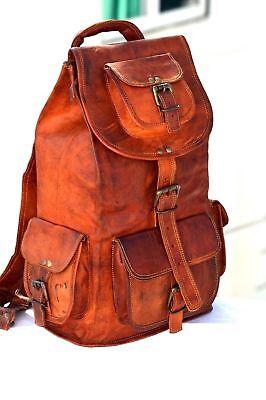 Mens Womens Echtes Leder großen großen Rucksack Rucksack Laptop Schultasche ()