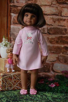 Puppenkleidung rosa Kleid mit Strassbär 50 cm Stehpuppe