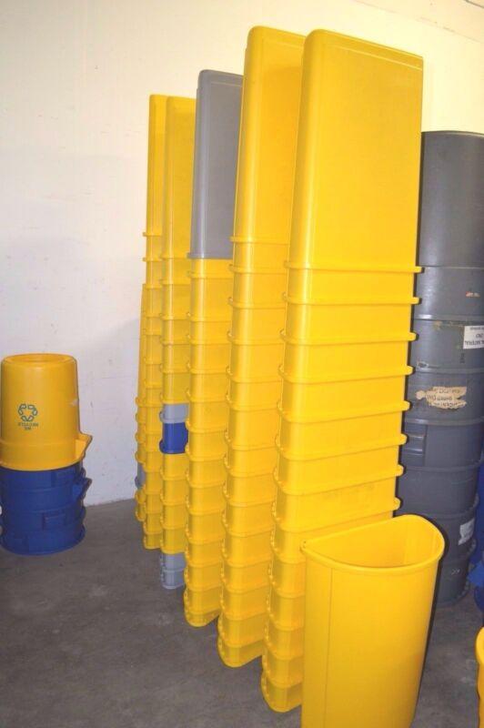 Rubbermaid 3520 Yellow Untouchable Half-Round Plastic Trash Can 21-Gallon