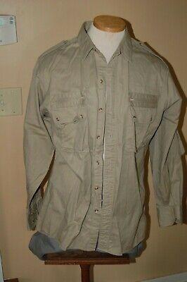 Vintage Abercrombie & Fitch Safari Jacket Shirt Size L Khaki Cotton