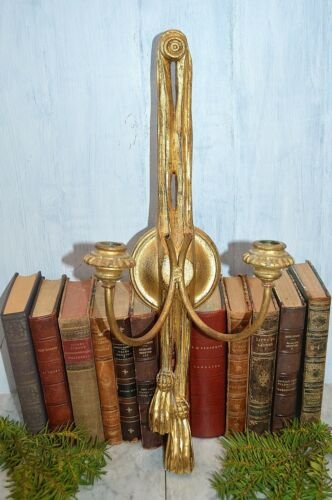 Antique Italian Candle Sconce Gilt Wood Two Arm Tassel Design