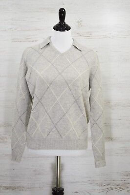Ralph Lauren Cashmere Wool Blend Argyle Pattern Grey Sweater Size Medium (Argyle Pattern Sweater)