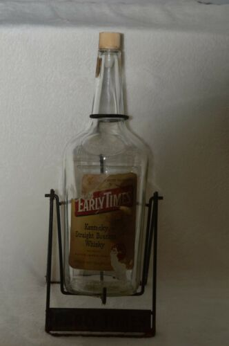 Vintage Early Times Kentucky Bourbon Whiskey Bottle w Tip Swing Stand