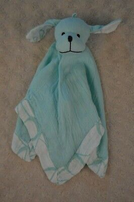Aden + Anais Puppy Dog Lovey Security Blanket Musy Mate Aqua Blue White Bamboo