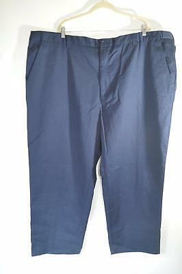 King Size Mens Navy Blue Work Pant Elastic Stretch Waistband 4 Pocket Sz 54 X 38