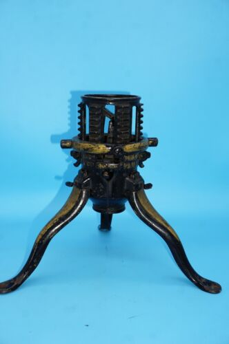 Antique North Bros Cast Iron Christmas Tree Stand Black w/Orig Gold Paint