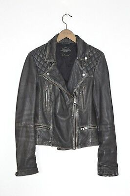 *STUNNING* AllSaints Ladies CARGO leather Biker Jacket UK10 US6 EU38 Black