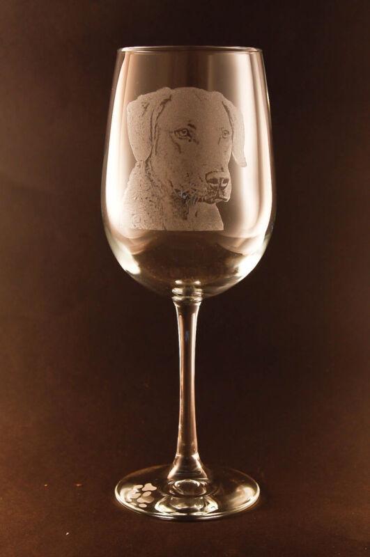 Etched Chesapeake Bay Retriever on White Wine Glasses - Set of 2