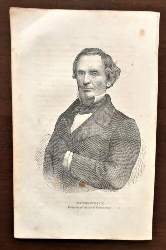 Original 1868 Civil War Print ~ Confederacy JEFFERSON DAVIS ~ Extremely Rare