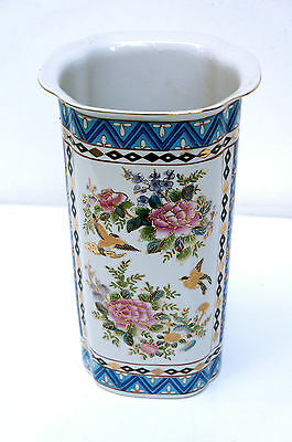 Large Porcelain Vase From China  Hand Painted Flowers   Gold Uninstall Kor  H