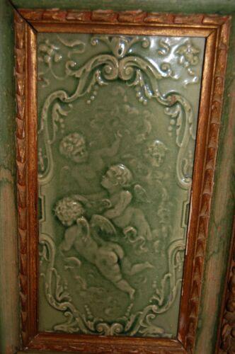Antique AETCO? Trent? American majolica framed Art Tile Cherubs Angels large