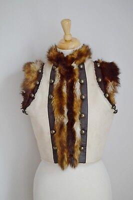 """larp VEST JERKIN gillet FAUX FUR viking WARRIOR LADIES MENS faux fur small 8 35"""""""
