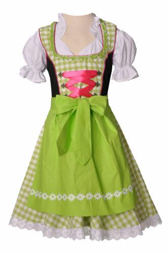 Girls,Kids,US sz 12,Germany,Trachten,Oktoberfest,Dirndl Dress,3-pc.Green,Fuchsia