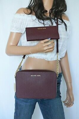 MICHAEL KORS JET SET ITEM EAST WEST CROSSBODY BAG & SLIM BIFOLD WALLET MERLOT