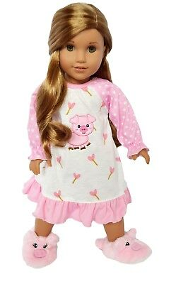 My Brittany's Little Piggy Nightgown for American Girl Dolls with Piggy Slippers
