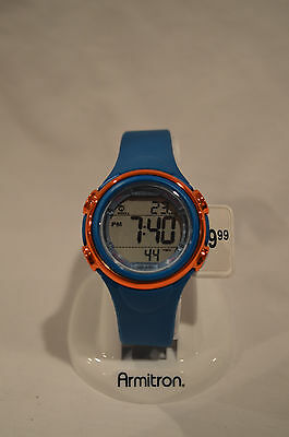NEW Armitron Sport Unisex Orange Metalized Top Ring Blue Resin Strap Watch