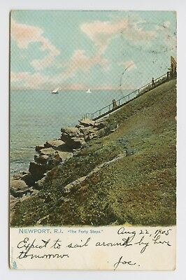 Newport, RI - OLD 1905 TUCKS PC of FORTY STEPS & SAILBOATS IN DISTANCE - T