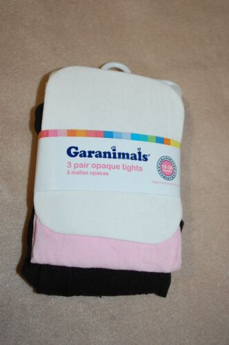 Baby Toddler Girls 3 PAIR LOT OPAQUE TIGHTS White Pink Black 18-36 MO
