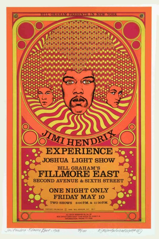 Jimi Hendrix Poster Fillmore East 1968 New Artist Edition Hand-Signed David Byrd