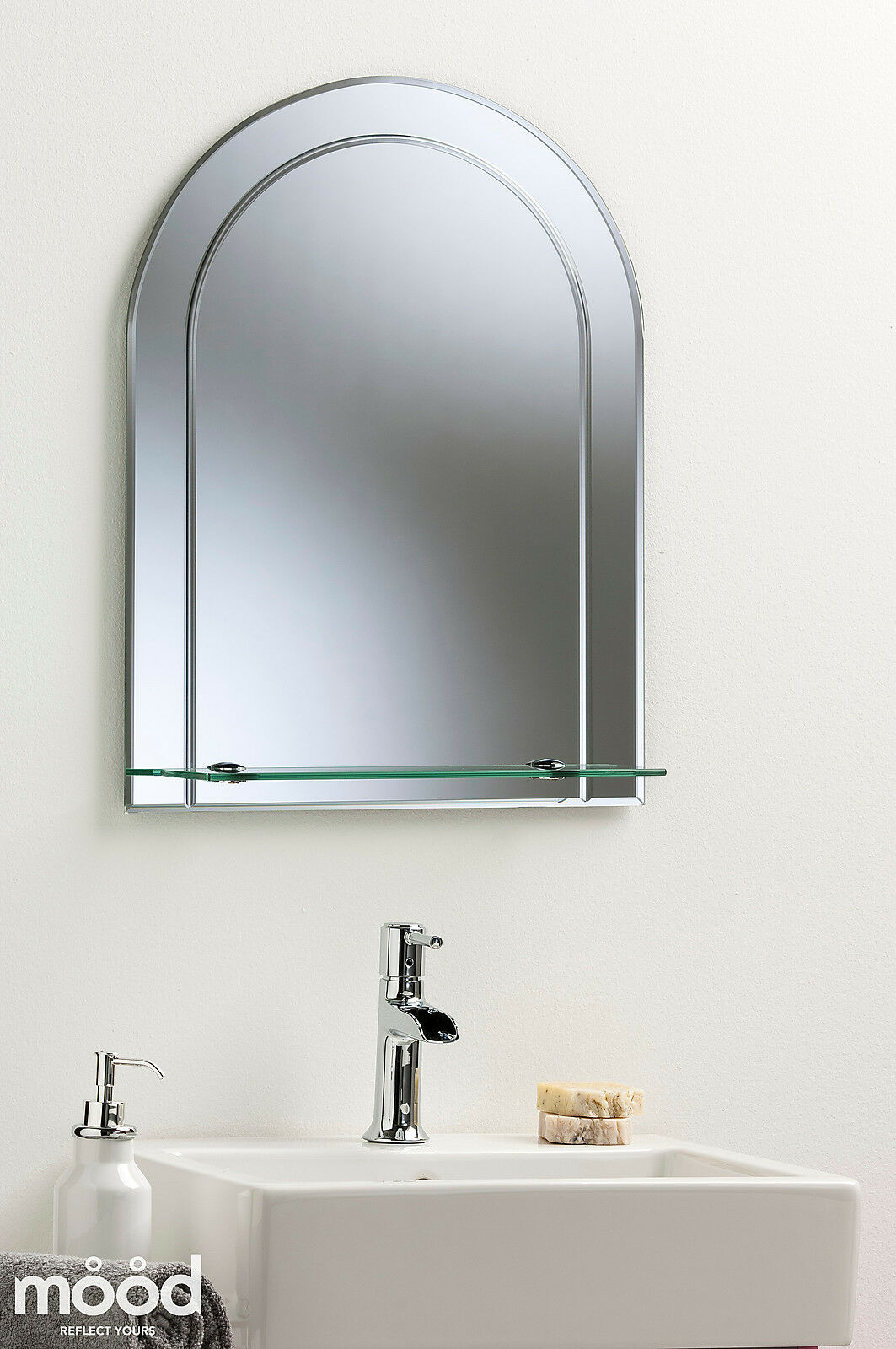 Pretty arch bathroom wall mirror modern stylish with shelf etched detail plai ebay Neue design bathroom mirror