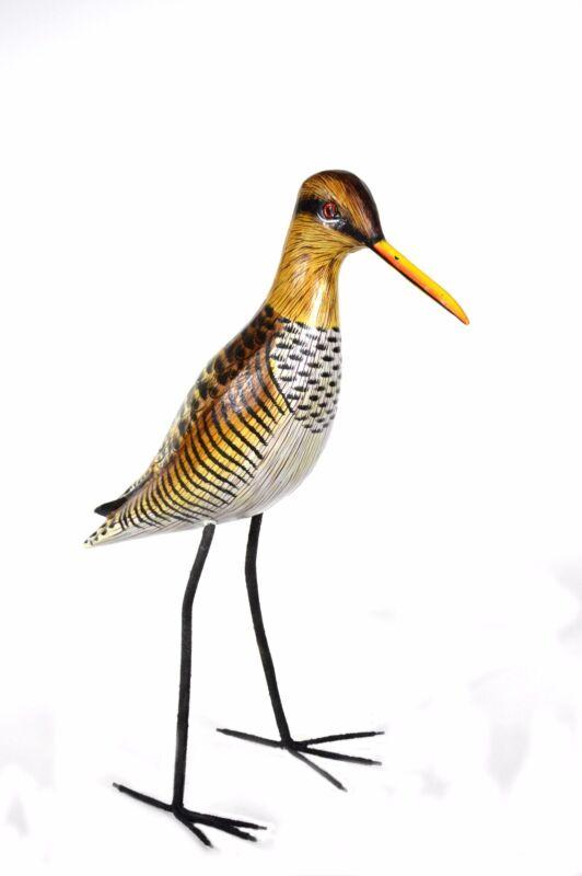CARVED SANDPIPER OCEAN BIRD WOOD SCULPTURE COTTAGE TROPICAL ISLAND SHOREBIRD ART