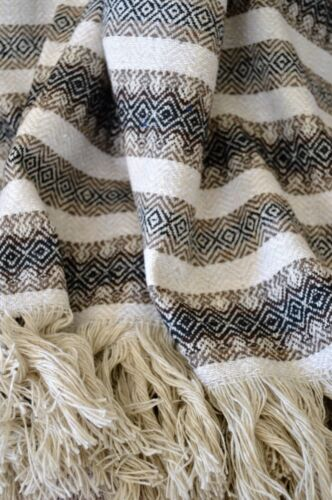 """Mexican Blanket in """"Diamond"""" Black Brown Natural PREMIUM 80 x 52 Handwoven Throw"""