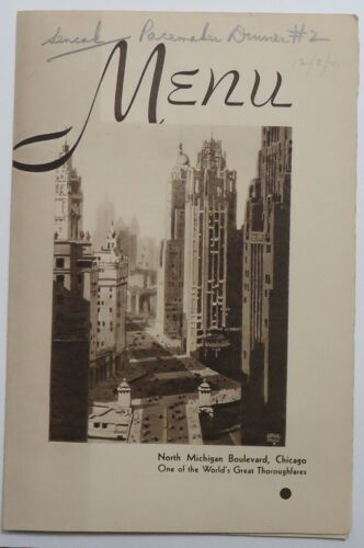 New York Central Railroad 1941  Folder Menu - Chicago  Cover - The Pacemaker