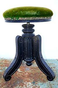joli ancien tabouret de piano xixe napoleon iii joli pied bois noirci velours ebay. Black Bedroom Furniture Sets. Home Design Ideas