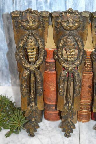 One Pair Antique French Lion Head Bronze Ormolu Trim Pediments