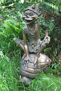 Large Garden Ornaments - Pixie on Snail Antique Bronze Sculpture