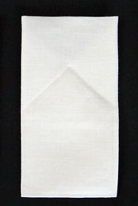 White 100% LINEN Flat Top Custom -POCKET SQUARE - Prefolded & Sewn