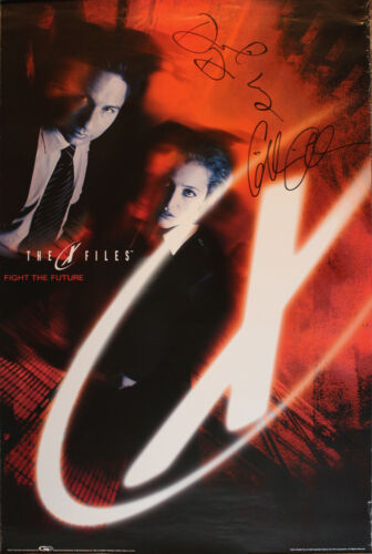 The X-Files Fight the Future Full Sized Poster SIGNED Gillian Anderson + David