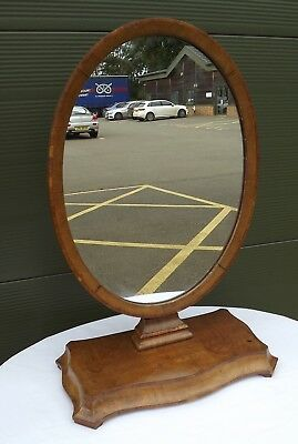 Antique Victorian Mahogany Toilette Dressing Table Mirror on Serpentine Base