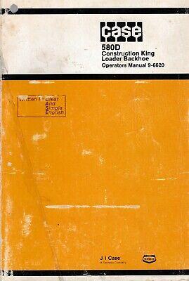 Case 580d Loader Backhoe Tractor Operators Manual