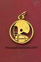 Sterling silver 24kt gold plated football pendant charm
