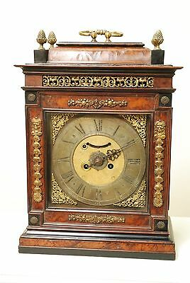 18th Century Burr Walnut Austrian Verge Bracket, Table Clock Alarm & Striking