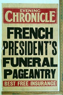 1800's London Evening Chronicle Newspaper Broadside French Presidents Funeral