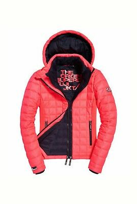 Box Quilted Coat (NEW RRP£89.99 LARGE SIZE WOMENS SUPERDRY HOODED BOX QUILTED FUJI JACKET RED COAT)