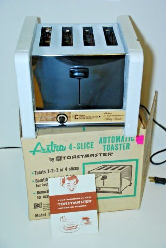Vintage Chrome ASTRA by TOASTMASTER 4 Slice Toaster D-127P MCM Retro NEW NOS