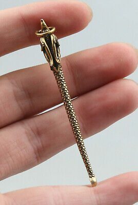 67MM Collection Chinese Bronze Auspicious Dragon Long Small Earpick Pendant 挖耳勺