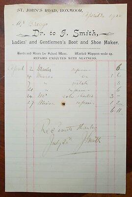1900 J. Smith, Boot & Shoe Maker, St. John's Road, Boxmoor Billhead - John Smith Boots