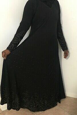Black Embroidered Abaya with Hijab