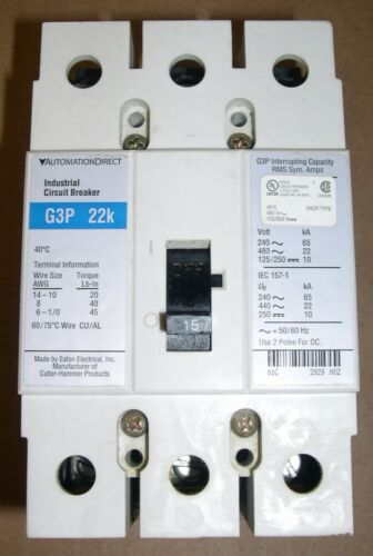 AUTOMATION DIRECT, G3P-015, 3 POLE MOLDED CASE CIRCUIT BREAKER, SLIGHTLY USED