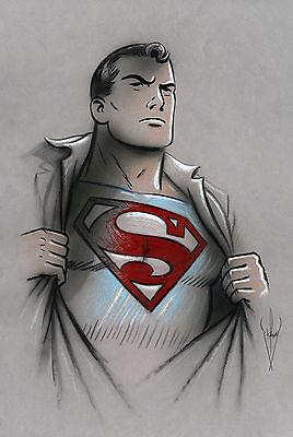 SUPERMAN - Pencil & Airbrush Drawing - Classic/Retro/50s Style - 12 x 18 Artwork