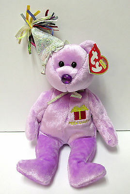 Ty Beanie Baby February w/Party Hat Birthday Bear Collection PRISTINE New Mint - Party Ty