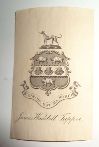 James Waddell Tupper - Ex Libris Bookplate - circa 1906