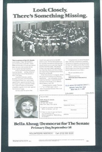 1976 Bella Abzug for US Senate handout New York NY campaign item